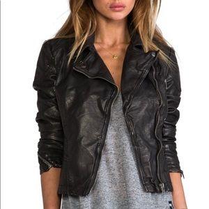 Black free people leather jacket